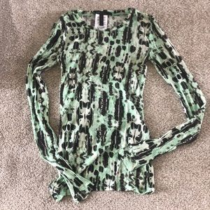 BCBGMAXAZRIA Green and Brown Shirt